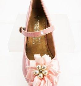 Meisjesschoenen Pumps - lak - roze - parel bloem