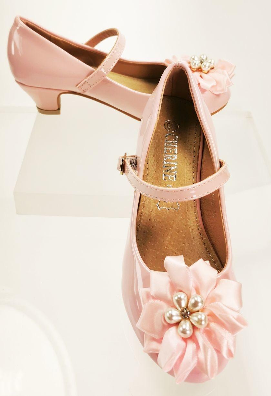 Meisjesschoenen Meisjesschoen - Spaanse schoentjes - lak - roze - parel bloem
