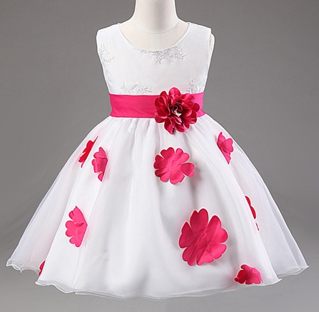 Meisjeskleding Meisjes Feestjurk Shirley - wit / roze (fuchsia)
