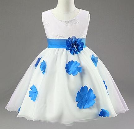 Meisjeskleding Meisjes Feestjurk Shirley - wit / blauw