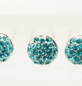 Haardecoratie Haarspeld - HS-01-B - turquoise blauw