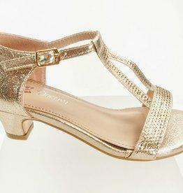 Meisjesschoenen Spaanse schoentjes - open met glitters - goud