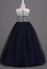 Meisjeskleding Meisjes Feestjurk Martha - navy blauw