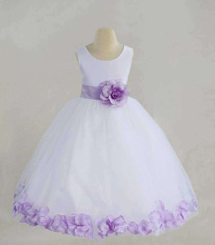 Meisjeskleding Meisjes Feestjurk Saskia - wit / lichtpaars