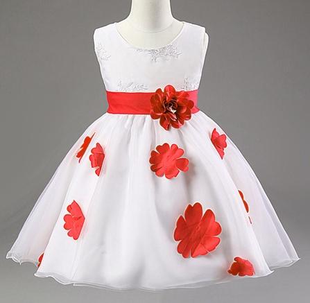 Meisjeskleding Meisjes Feestjurk Shirley - wit  /rood
