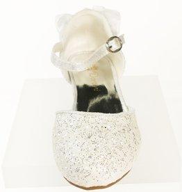 Meisjesschoenen Spaanse schoentjes - strik - glitter - wit