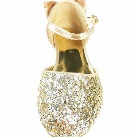 Meisjesschoenen Spaanse schoentjes - strik - glitter - goud