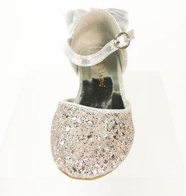 Meisjesschoenen Spaanse schoentjes - strik - glitter - zilver