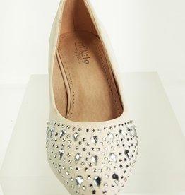 Meisjesschoenen Pumps - mat - strass steentjes - wit