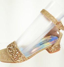 Meisjesschoenen Spaanse schoentjes open - glitters - hart - goud