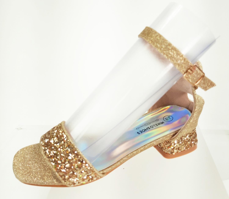 Meisjesschoenen Meisjesschoen - Spaanse schoentjes open - glitters - hart - goud