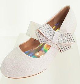 Meisjesschoenen Spaanse schoentjes - glitter - strik - band - wit