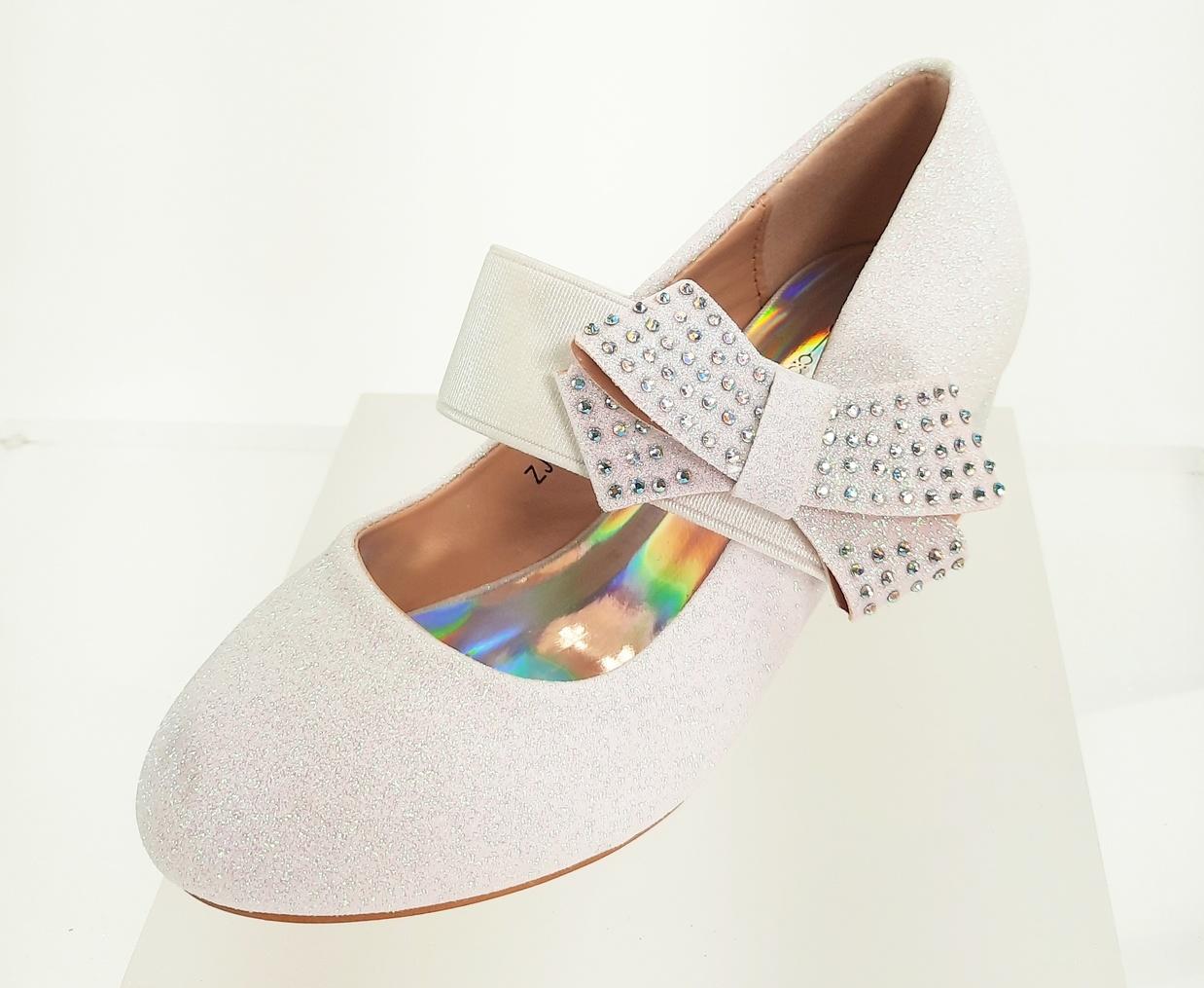 Meisjesschoenen Meisjesschoen - Spaanse schoentjes - glitter - strik - band - wit