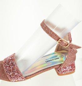 Meisjesschoenen Spaanse schoentjes open - glitters - hart - roze