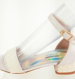 Meisjesschoenen Spaanse schoentjes open - glitters - hart - wit