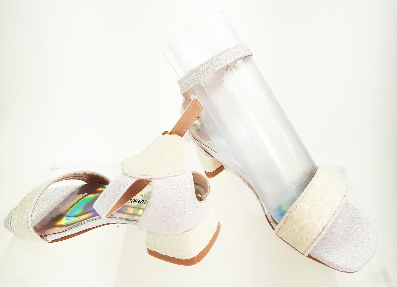 Meisjesschoenen Meisjesschoen - Spaanse schoentjes open - glitters - hart - wit