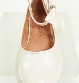 Meisjesschoenen Ballerina's - lak - strik - gebroken wit