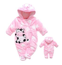 Babykleding Koe en Sterren Boxpakje met capuchon - roze