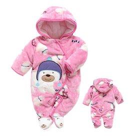 Babykleding IJsbeer Boxpakje met capuchon - roze