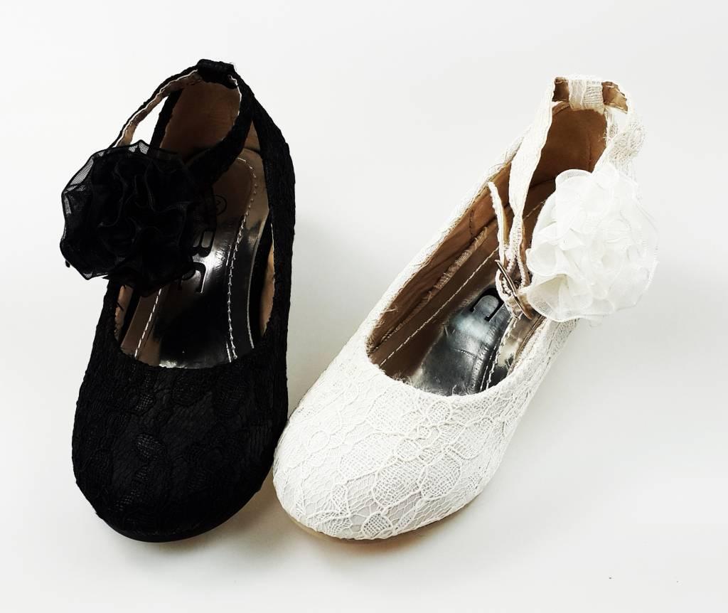 Meisjesschoenen Meisjesschoen - Spaanse schoentjes met hakje - kant - wit