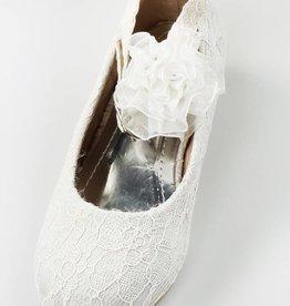 Meisjesschoenen Spaanse schoentjes met hakje - kant - wit
