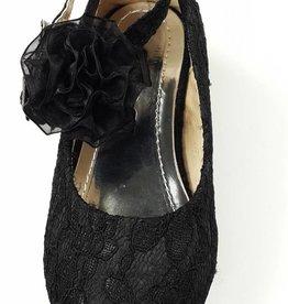 Meisjesschoenen Spaanse schoentjes met hakje - kant - zwart