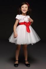 Meisjeskleding Meisjes Feestjurk Sandra - wit / rood