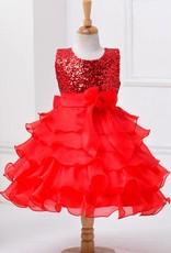 Meisjeskleding Meisjes Feestjurk Ariël - rood