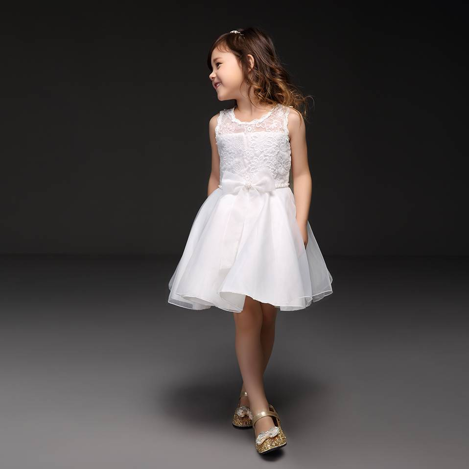 Meisjeskleding Meisjes Feestjurk Renee - wit