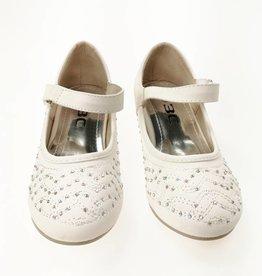 Meisjesschoenen Spaanse schoentjes met hakje en strass steentjes - wit