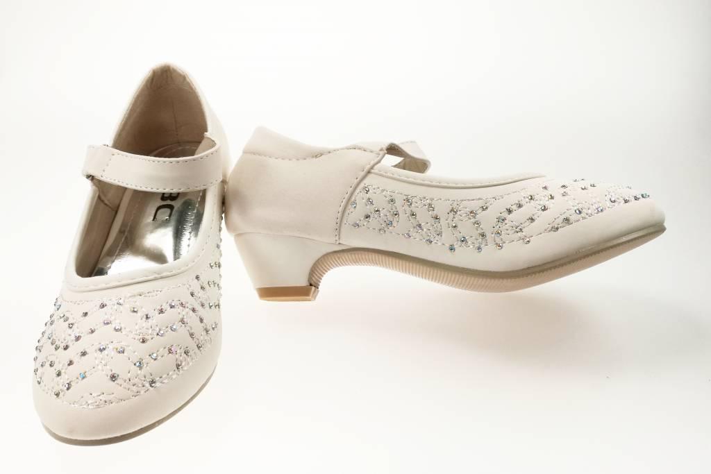 Meisjesschoenen Meisjesschoen - Pumps met hakje en strass steentjes - wit