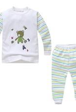 Babykleding Beertje Kinderpyjama - wit / groen