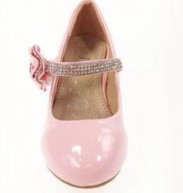 Meisjesschoenen Spaanse schoentjes met hakje en strass steentjes - lak - roze
