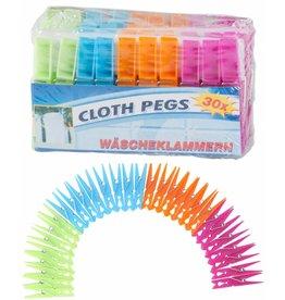 Wasknijpers Plastic 36 stuks 4 kleuren