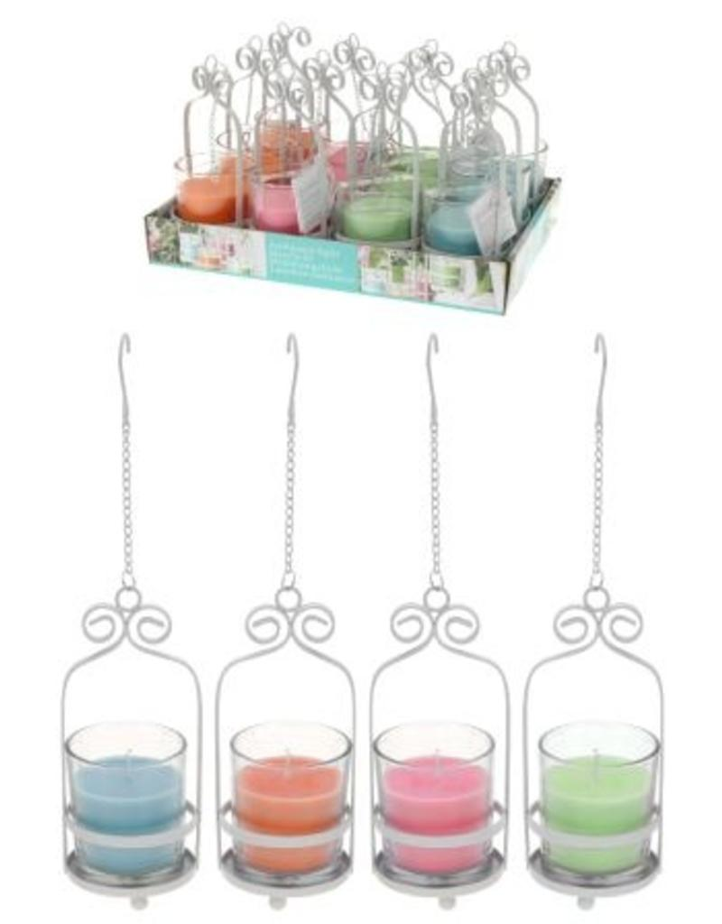 Kaars in glas in metalen houder per 12 in display