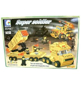 Bouwstenen Super Soldier 618pcs in box à 40x28cm.