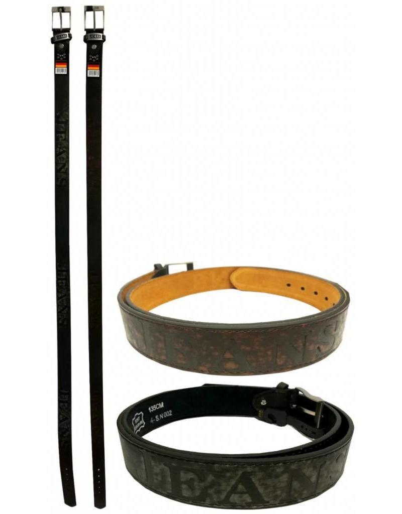 Leren Riem 'Jeans' 110-115-120-125-130-135cm.br.3,5cm 2 ass.kleur