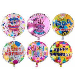 Ballon Happy Birthday opblaasbaar Ø46cm. 6 assorti print