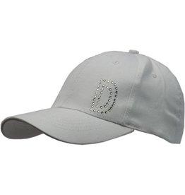 Cap Dames Wit met D in strassteentjes maat 58