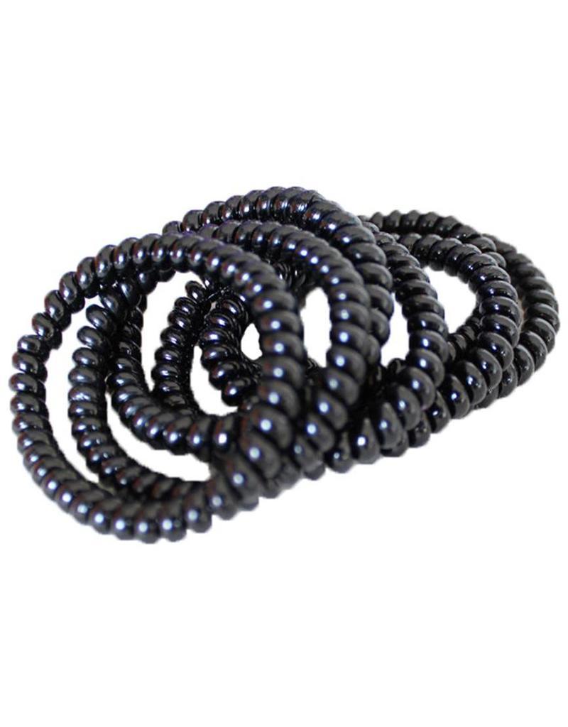 Elastische Telefoon Haarbandjes  zwart 12st  GROOT