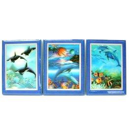3D Notitie boekje Dolfijn 3 assorti