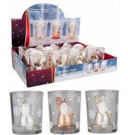 Kerstkaars in glas 5,5x6,5cm. 3 assorti design