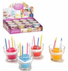 Verjaardagskaars in glas 6,5x6 cm. 4 assorti kleur
