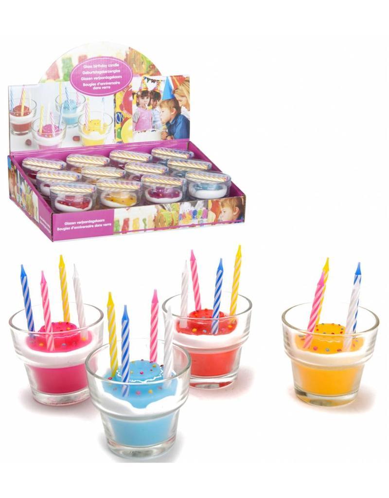 Verjaardagskaars in glas 6,5x6 cm. 4 ass. kleur