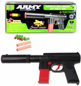 Army Geweer met 5 soft kogels in box 31x13cm.