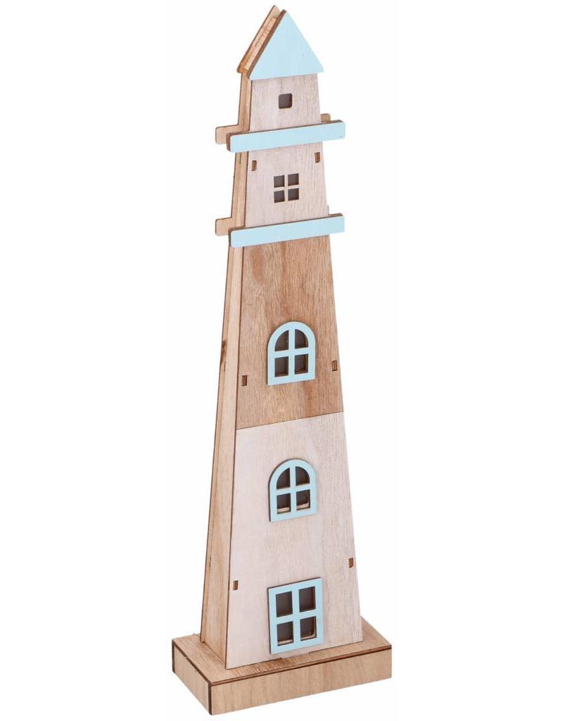 Deco Vuurtoren met led licht 13x45,5x7cm.
