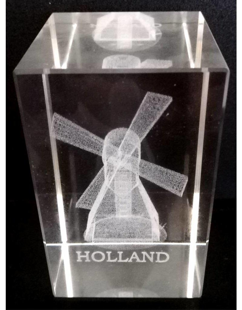 3d Laser Kristal Blok Molen + tekst Holland 5x5x8cm.