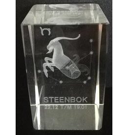 3d Laser Kristal Blok Steenbok 5x5x8cm