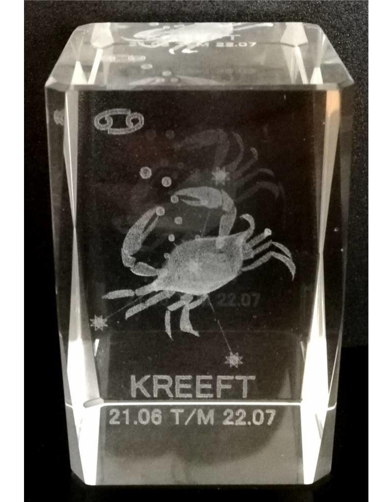 3d Laser Kristal Blok Kreeft 5x5x8cm