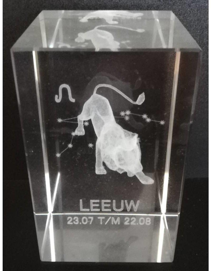 3d Laser Kristal Blok Leeuw 5x5x8cm